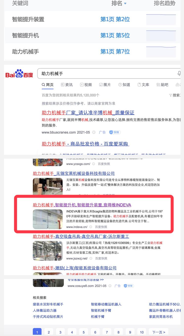 助力机械手公司SEO优化的标题词全部排名首页